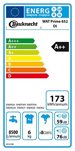 Bauknecht WAT Prime 652 Di Waschmaschine TL / A++ / 173 kWh/Jahr / 1200 UpM / 6 kg / Startzeitvorwahl und Restzeitanzeige /FreshFinish - verhindert zuverlässig Knitterfalten - 2