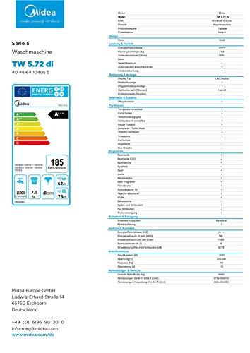 Midea Toplader Waschmaschine TW 5.72 di / 7,5 KG Fassungsvermögen / Energieeffizienzklasse A+++ / Reload Funktion / 1200 U/min / Soft Opener - 14