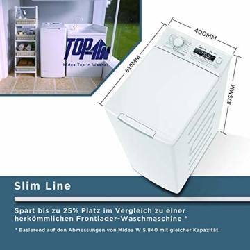 Midea Toplader Waschmaschine TW 5.72 di / 7,5 KG Fassungsvermögen / Energieeffizienzklasse A+++ / Reload Funktion / 1200 U/min / Soft Opener - 7