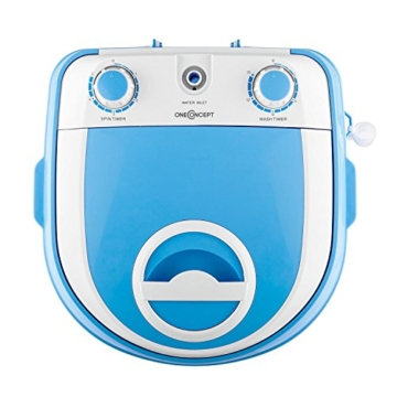 oneConcept SG003 - Camping-Waschmaschine, Mini-Waschmaschine, Wäscheschleuder, Toploader, 2,8 kg Kapazität, 180 Watt Leistung, für Singles und Studentenhaushalte, geräuscharm, sparsam, blau - 3