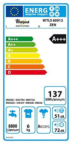 Whirlpool WTLS 60912 ZEN Waschmaschine TL/A+++ / 137 kWh/Jahr / 1200 UpM / 6 kg / 8800 L/Jahr/leise mit 51 dB/EcoMonitor/weiß - 2